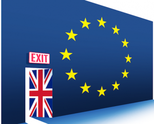 Graphic of EU flag but with Union Jack exit door