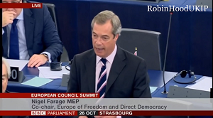 Nigel Farage in EU Parliament 26 Oct