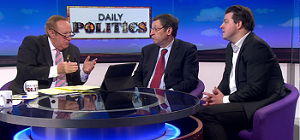 Grab of Andrew Neil, Danny Blanchflower and Liam Halligan on the Daily Politics show