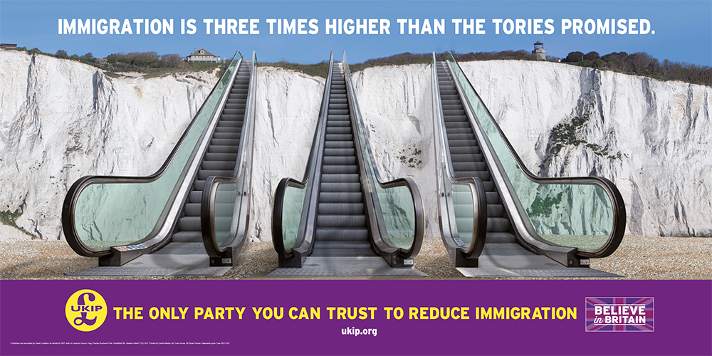 White cliffs with escalators giving immigration message from UKIP